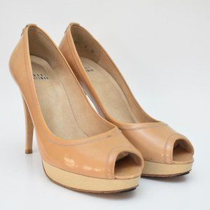 STUART WEITZMAN Tan Patent Leather Peep Toe Pumps